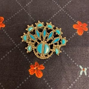 Vintage Faux Turquoise and Silvertone Brooch Pin